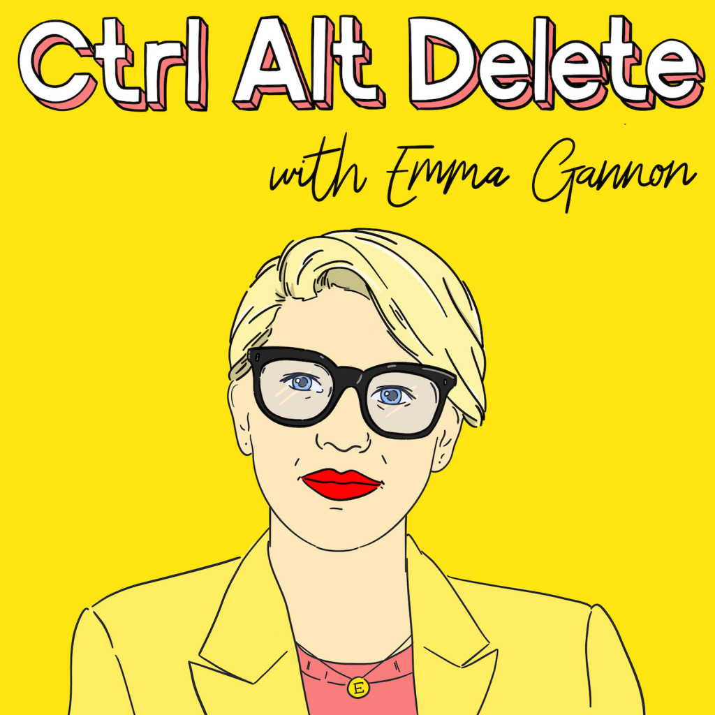 ctrl alt delete podcast for freelancers yellow image with cartoon of emma gannon